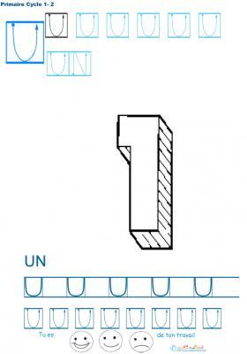 Exercice d'écriture et de graphisme : U et UN