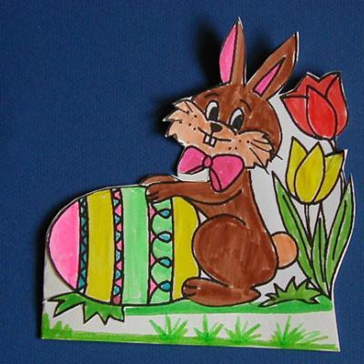 Carte de Pâque décorée d'un coloriage