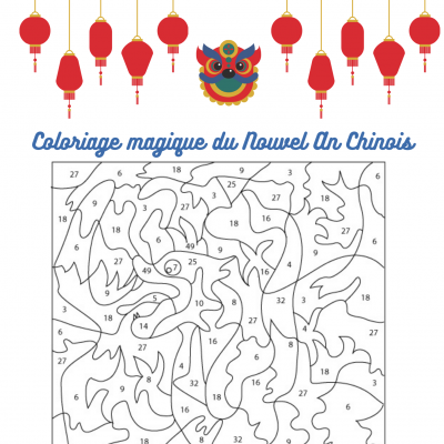 Des jeux de coloriage numéroté à imprimer sur le thème du zodiaque chinois . Le coloriage est morcelé, chaque petite zone est numérotée et à chaque numéro correspond une couleur. Les numéro peuvent être le résultat d'une opération : addition,
