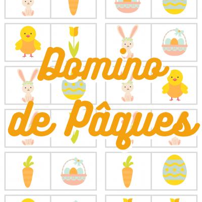 Bricolage pour réaliser des dominos de Pâques avec son enfant. Le jeu de dominos est réalisé avec des imagettes découpées et collées.