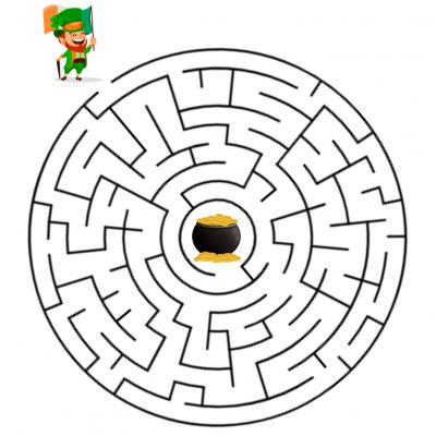 Un jeu de fil de saint Patrick. Imprimez le jeu de saint Patrick et demandez à votre enfant d'aider le leprechaun à retrouver son chaudron rempli de oièces d'or.