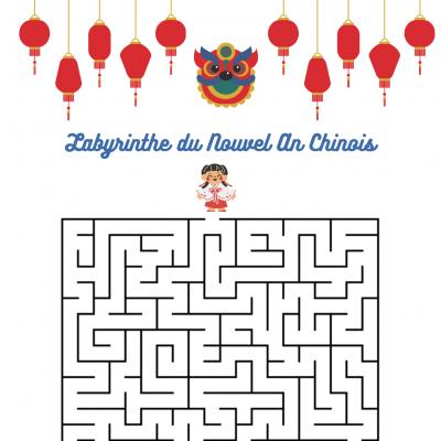 Un jeu de labyrinthe à imprimer pour jouer sur le thème de la Chine- Imprimez le jeu de labyrinthe et demandez à votre enfant de d'aider le lapin à traverser la lanterne chinoise