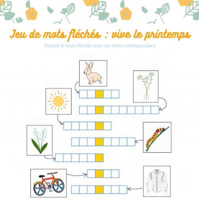 jeu de mots fléchés , niveau cp sur le thème du printemps Des petites images illustrent le mot à réécrire dans les cases