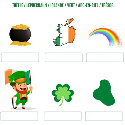 Un jeu sur les symboles de la saint Patrick. Imprimez le jeu de saint Patrick et demandez à votre enfant de retrouver le nom de chaque symbole lié à la saint Patrick dans la liste et de l'écrire dans la bonne case.