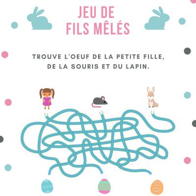 Des jeux de fils mêlés et à démêler sur les ?ufs de Pâques, le lapin, la poule ou les cloches de Pâques. Les jeux de fils mêlés sont des jeux d'observation et de logique à imprimer à l'occasion de la fête de Pâques.