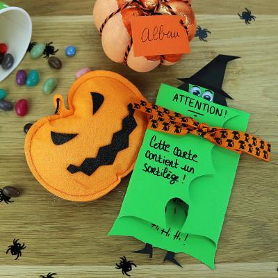 Voici une carte d' Halloween avec une soricère à fabriquer facilement pour inviter les copains à une fête d'Halloween ou souhaiter un Joyeux Halloween à vos proches.