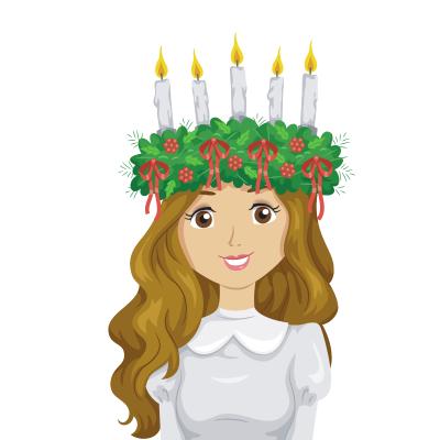 Les origines de la couronne de sainte Lucie : La première couronne que l'on trouve est celle de Sainte Lucie. En Suède, tous les 13 décembre, la plus jeune des filles de la famille se pare d'une couronne de verdure o&u