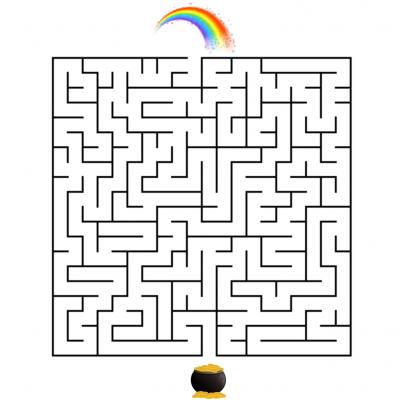 Jouer avec le Leprechaun de saint Patrick. Un jeu de labyrinthe à imprimer pour la saint Patrick. Le Lepechaun a perdu ses amis, votre enfant peut-il l'aider à trouver le chemin pour rejoindre ses amis ?