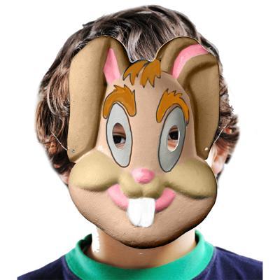Masque lapin en papier comprimé blanc