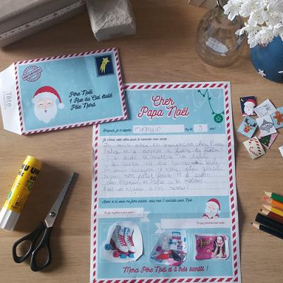 Voici une jolie lettre au père Noël que vous pourrez remplir avec votre enfant en l'invitant à faire le bilan de son année et raconter cela au Père Noël. Il pourra alors coller les images de 2 ou 3 cadeaux qui lui feraient plaisir. Une bonne idée de lettr