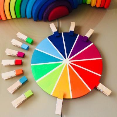 Une activité manuelle et pedagogique pour réaliser une roue des couleurs selon la méthode Montessori. Ce cercle chromatique permet de différencier les nuances de couleurs, de les associer et d'exercer la motricité fine avec la manipulation des épingles.