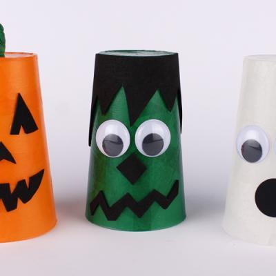 Décorer un gobelet pour le transformer en photophore d'Halloween