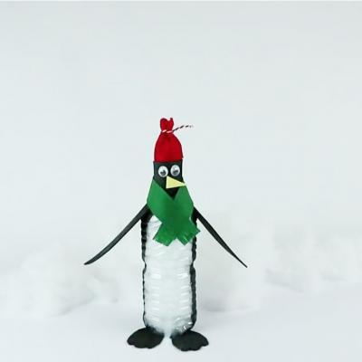 Pingouin à réaliser avec une bouteille en plastique recyclé