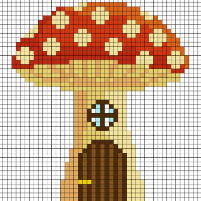 Fabriquez ce beau Pixel Art de champignon, maison de fée en prenant un quadrillage afin de reproduire les carrés colorés. Vous pourrez alors avoir une superbe maison de fées.