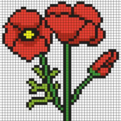 Découvrez comment réaliser ces coquelicots en Pixel Art Il suffit de suivre notre modèle afin de reproduire chaque carré. Petit à petit vous arriverez à réaliser ces jolis coquelicots parfait pour le Printemps ! Imprimez rapidement notre grille quadrillée