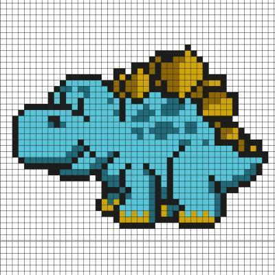 Réaliser ce beau Pixel Art en prenant un quadrillage afin de reproduire les carrés colorés. Vous pourrez alors avoir un superbe dinosaure qui vous permettra de retourner plusieurs centaine de milliers d'années en arrière.