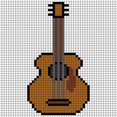 Modèle de Pixel art pour faire un instrument de musique, une guitare Il suffit de suivre notre modèle afin de réaliser chaque carré. Petit à petit vous arriverez à réaliser cette guitare ! Imprimez rapidement notre grille quadrillée et mettez-vous