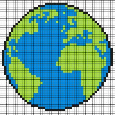 Modèle de Pixel art planète Terre à reproduire sur un papier quadrillé. Une bonne idée pour la journée de la Terre.