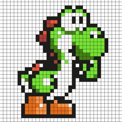 Réaliser ce beau Pixel Art en prenant un quadrillage afin de reproduire les carrés colorés. Vous pourrez alors avoir un Yoshi qui sera prêt à aller aider Mario et tous ses autres amis au royaume champignon !