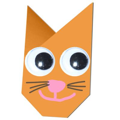 Pliage d'une tête de chat en origami