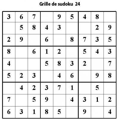 Sudoku enfant niveau 2 du primaire grille 24