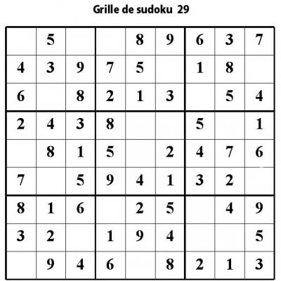 Sudoku enfant niveau 2 du primaire grille 29