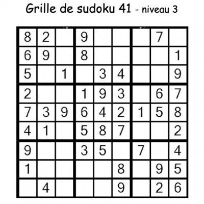 Sudoku enfant niveau 2 du primaire grille 41