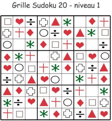 Grille 20 de sudoku à visuels géométriques. Sudoku pour la maternelle. cette grille de sudoku est à compléter en collant les visuels de fruits et légumes. Grille de sudoku 20 à c
