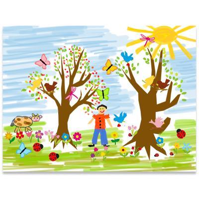 Tableau paysage de printemps et gommettes