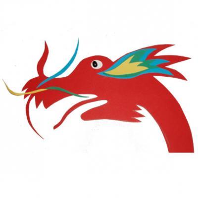 Tête de dragon chinois réalisée avec du papier de couleur, pour s'amuser sur le thème de la chine et du nouvel an chinois. Un bricolage pour partir à la découverte de la culture chinoise et